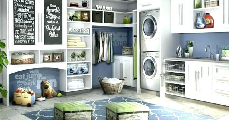 Stacked washer dryer laundry room design