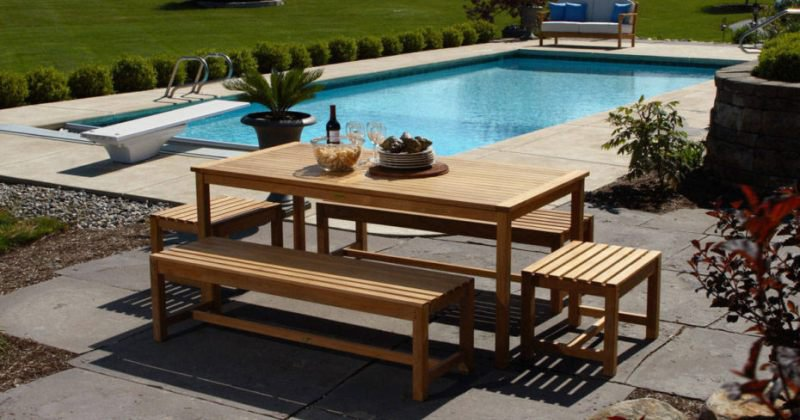 Teak outdoor dining set with bench