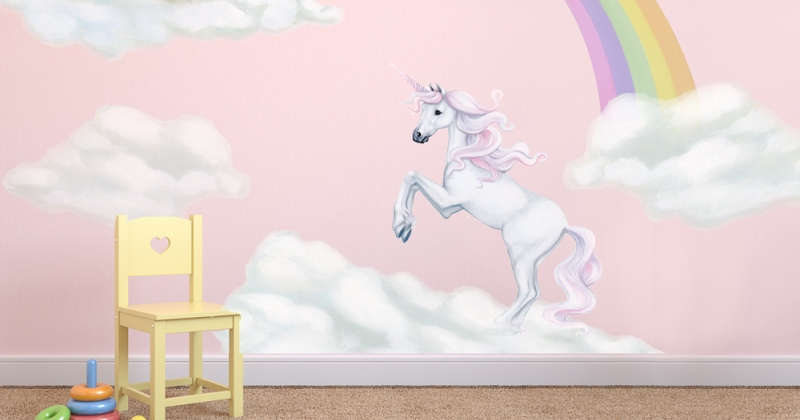Unicorn and rainbow wall decals