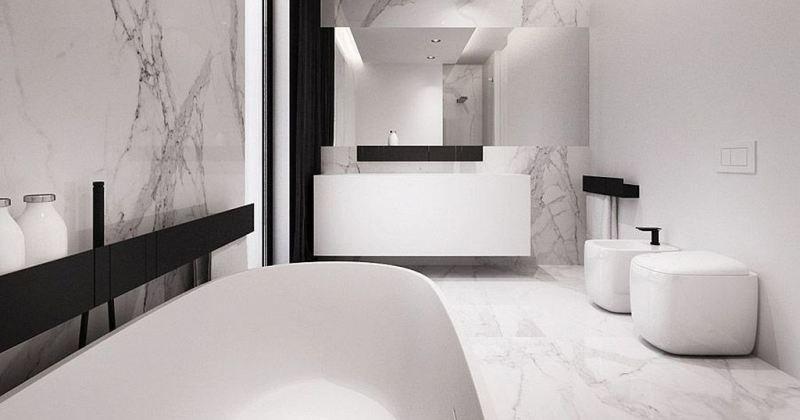 White clean bathroom decor