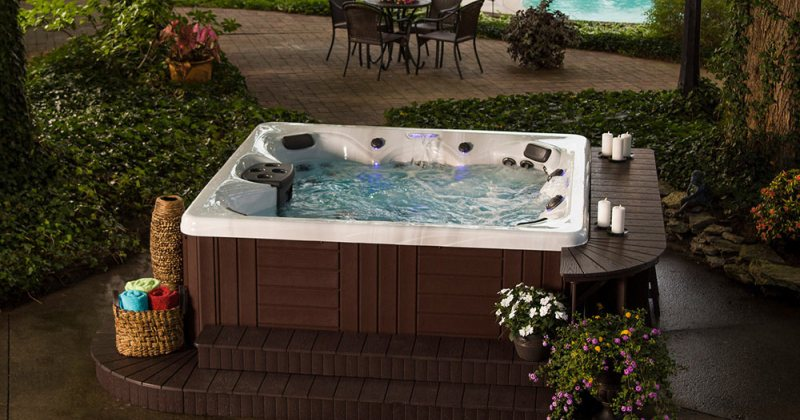 Backyard design with hot tub