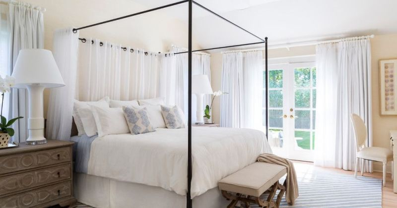 Bedroom canopy bed drapes