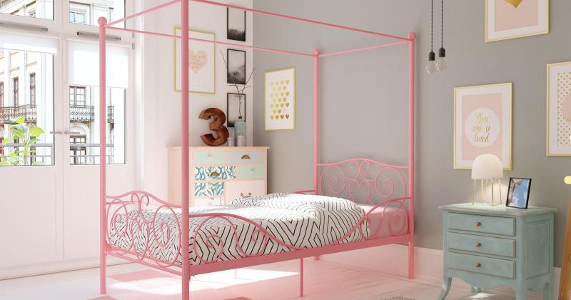 Bedroom with metal canopy bed