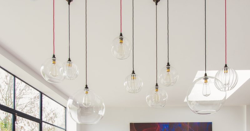 Blown glass globe pendant lights