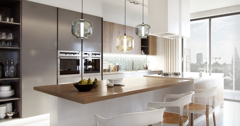 Blown glass pendant lighting for kitchen