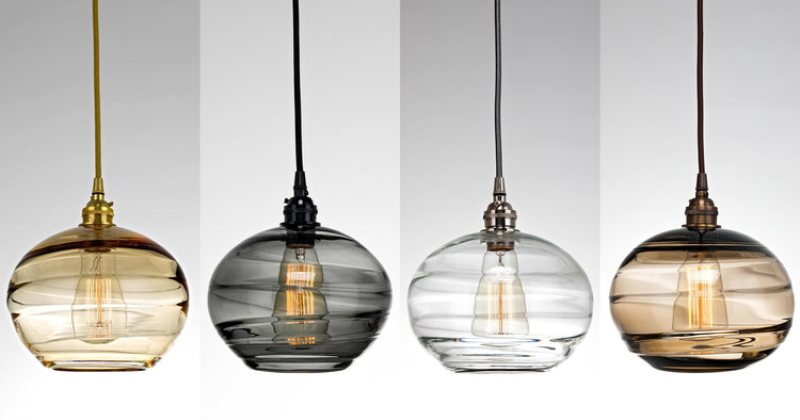 Clear blown glass pendant lights
