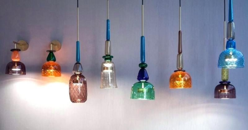 Colored blown glass pendant lights
