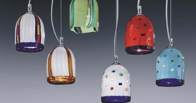 Coloured blown glass pendant lights
