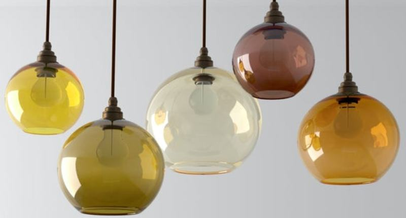 Handmade blown glass pendant lights