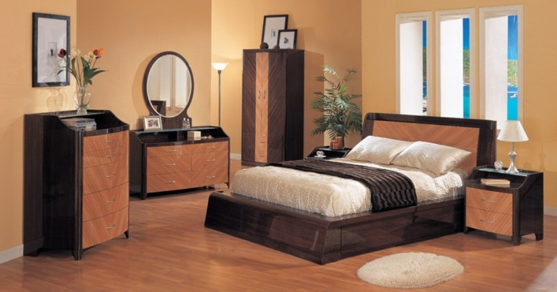 High Gloss Finish Furniture in Cool Bedroom