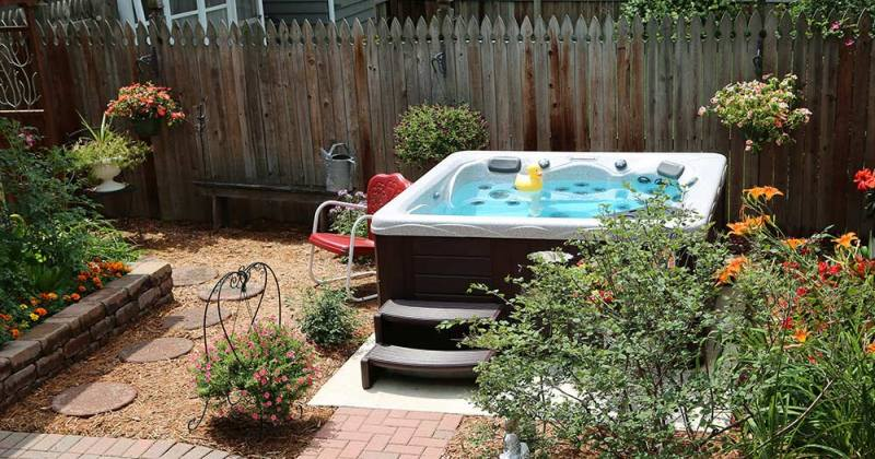Hot tub designs backyard