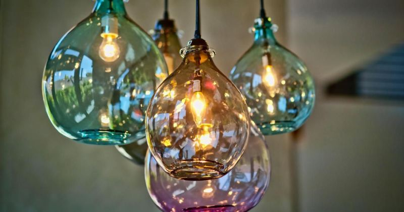 Large blown glass pendant lighting
