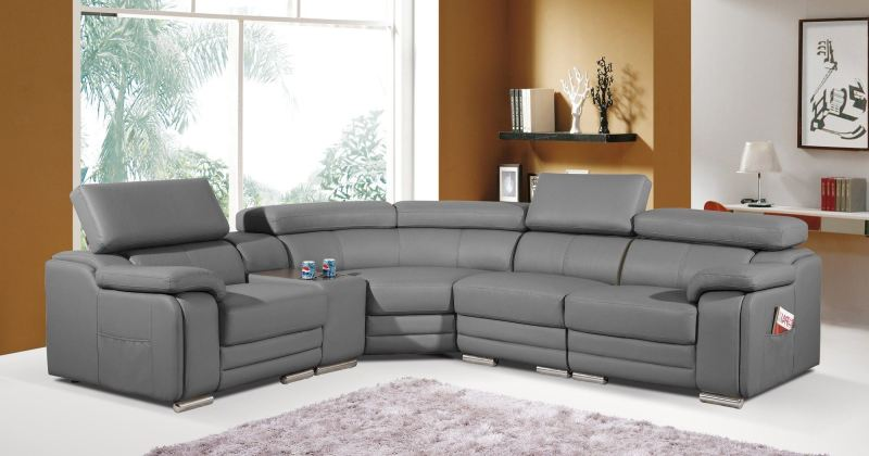 Leather corner couch recliner
