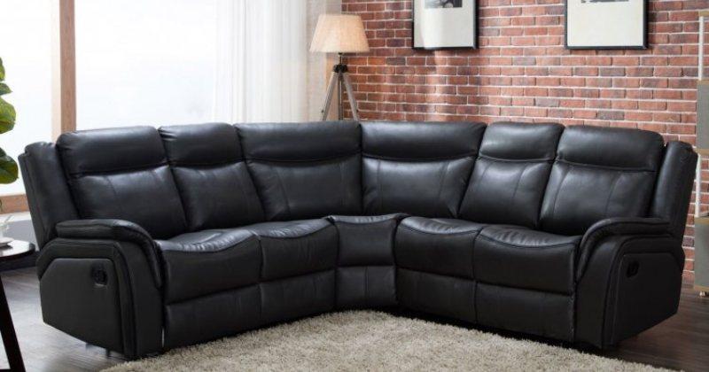 Leather corner sofa black