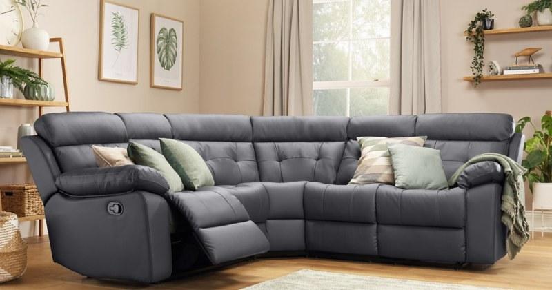 Leather corner sofa recliner