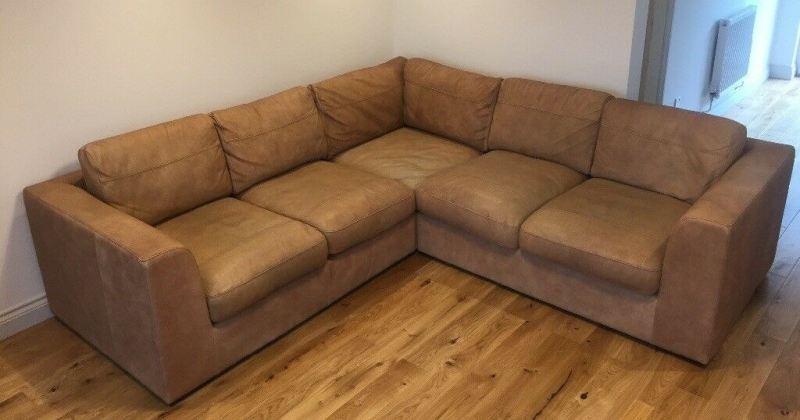 Leather corner sofa tan