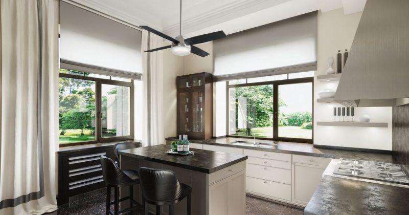 Modern ceiling fan kitchen