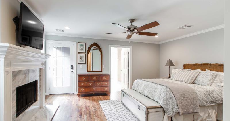 Modern ceiling fan master bedroom