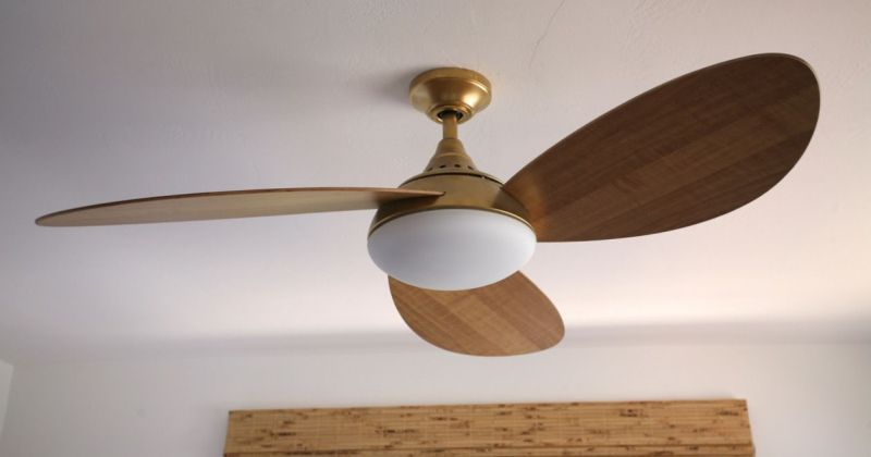 Modern gold ceiling fan with light