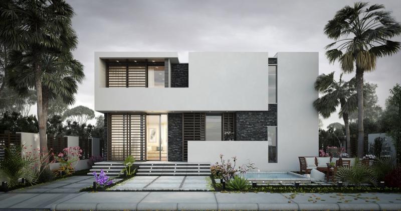 Modern residence elevation