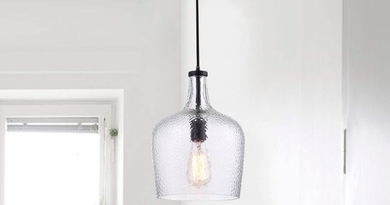 Mouth blown glass pendant lights