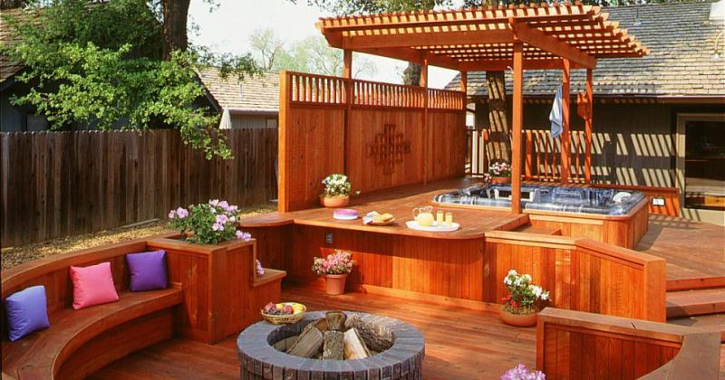 Patio design with hot tub