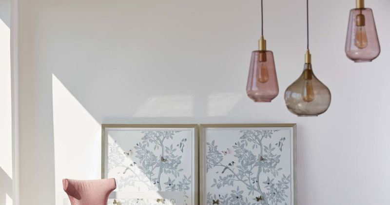 Pink hand blown glass pendant lighting
