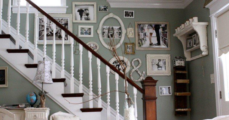 Rustic stairway wall ideas