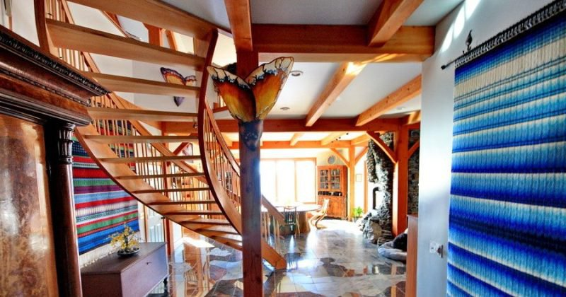 Rustic wooden staircase
