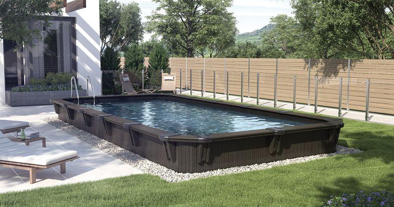 Semi in ground rectangular pools