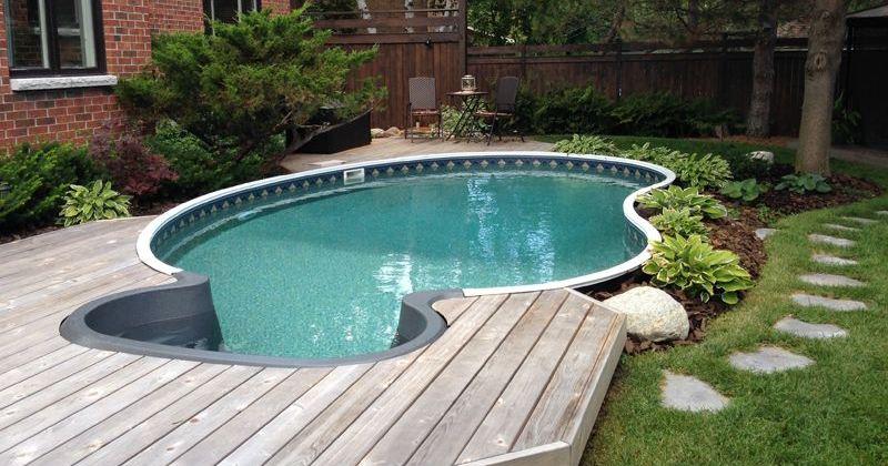 Semi inground pool deck