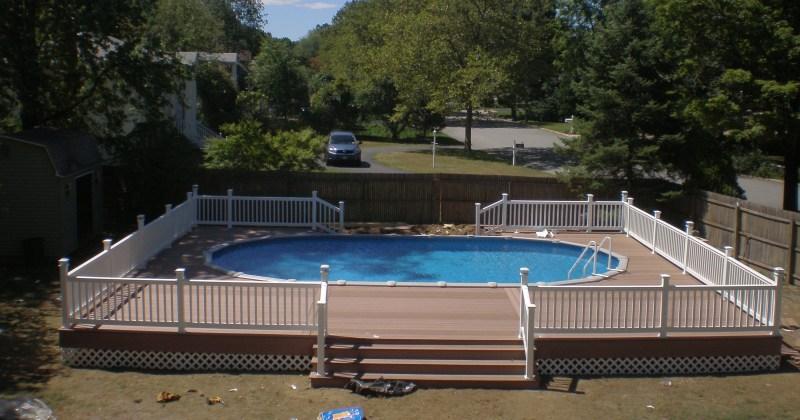 Semi Inground Pools With Deck Elegant 18x33 Semi inground pool with deck
