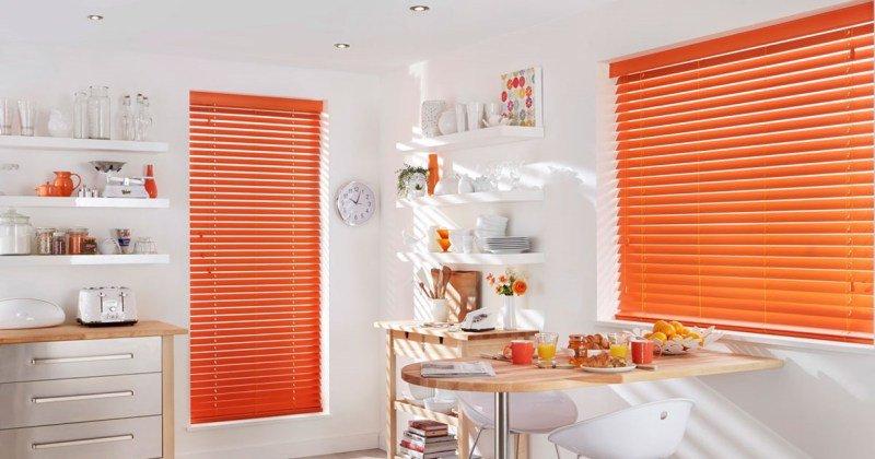 Wooden venetian blinds orange