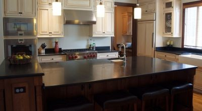Black Honed Granite Kitchen Countertops