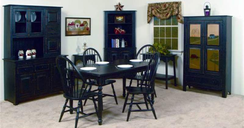 Black corner hutch dining room