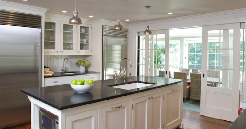 Black honed granite countertop