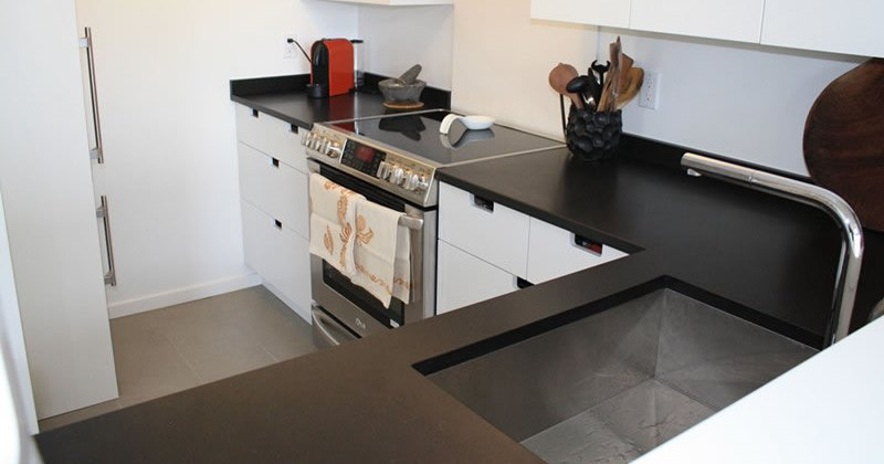 Black honed quartz countertops