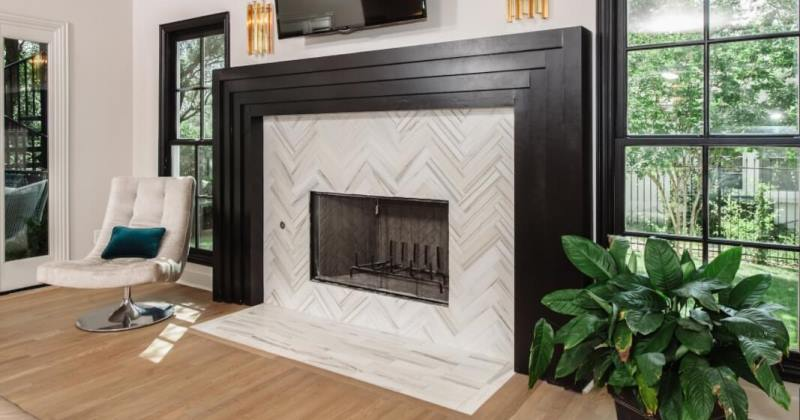 Fireplace marble tile ideas