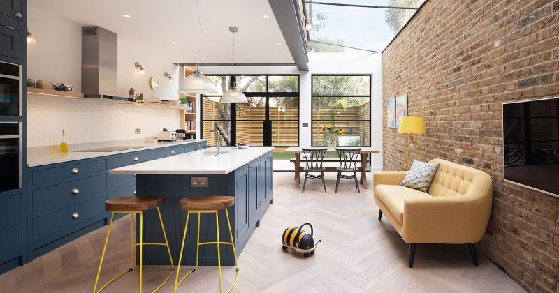 Glass and steel kitchen extensions