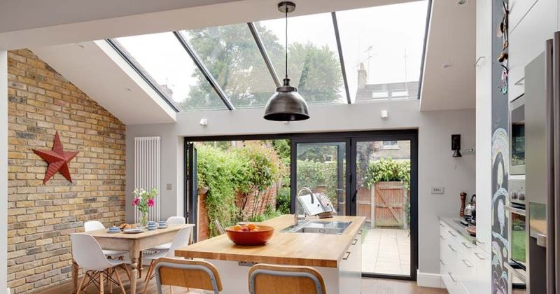 Glass roof kitchen extensions