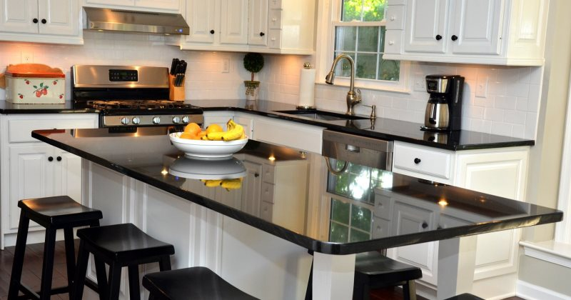 Honed black granite kitchen counter