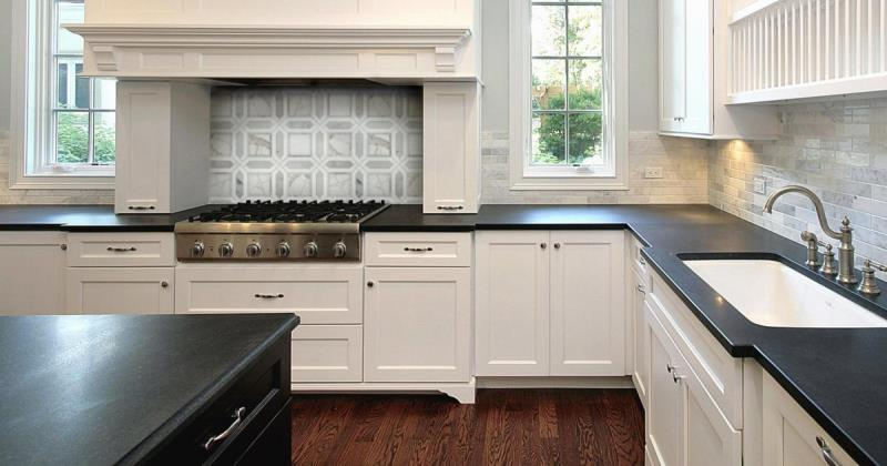 Honed black granite kitchen counters
