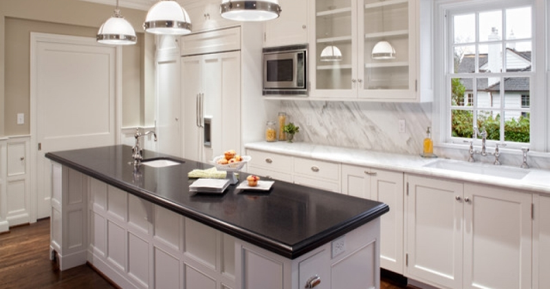 Honed black granite kitchen countertops