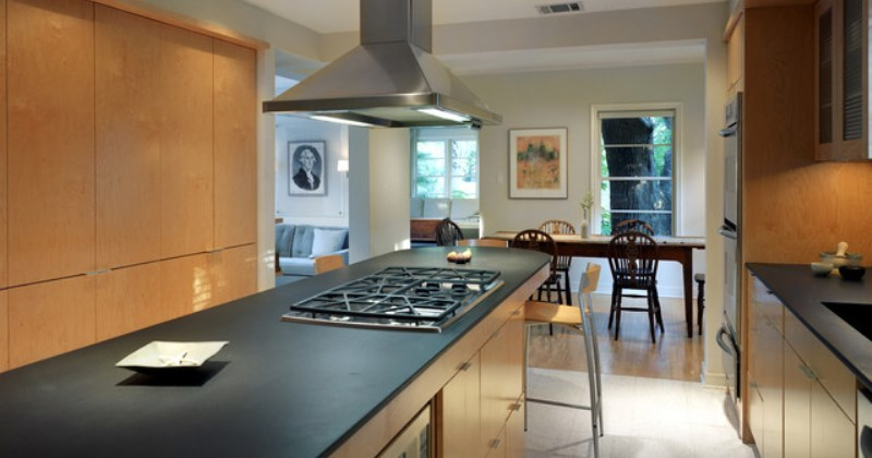Honed black slate countertops