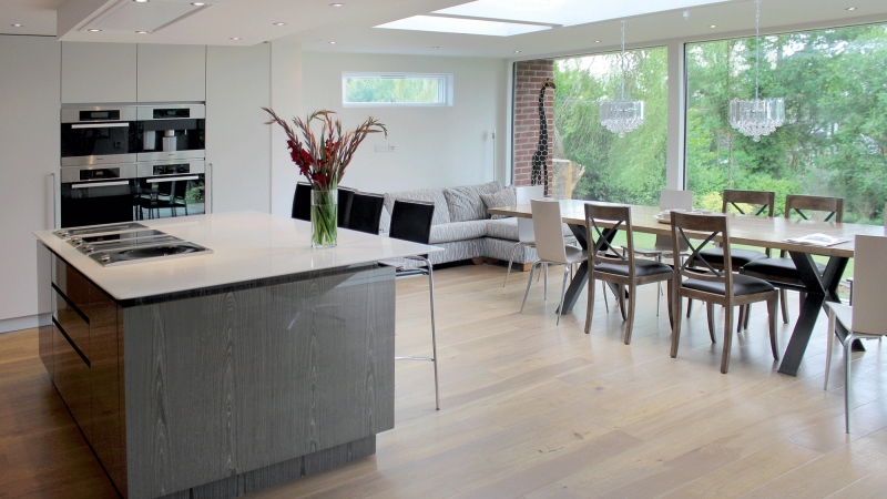 Kitchen extensions design with glass wall