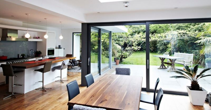Kitchen extensions design with glass