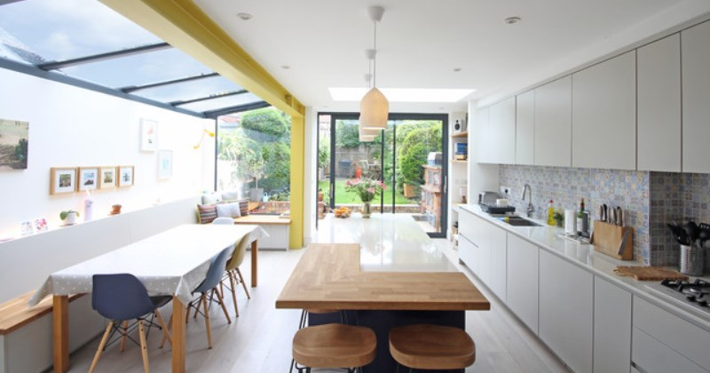 Kitchen extensions using glass