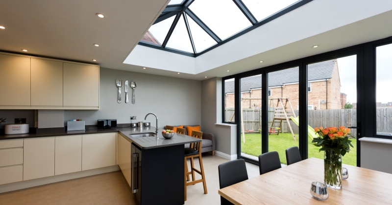 Kitchen extensions with glass design