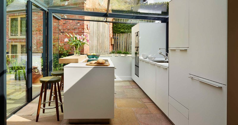 Kitchen extensions with glass