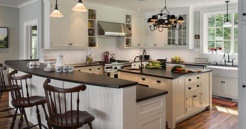 Kitchen with honed black granite